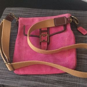 EUC Coach pink suede cross body-FIRM
